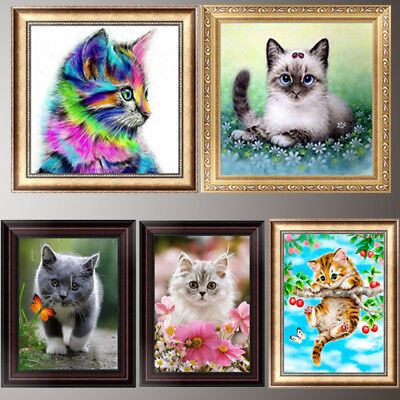 Cat DIY 5D Diamond Painting Embroidery Cross Stitch Home Decor Needlework Gift