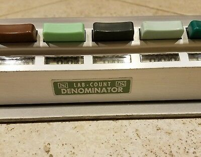 Lab Count Denominator Counter, multi-colored, 1 row,15 Units, 0 to 999 each.