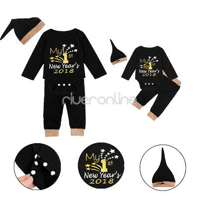 Infant Baby Boys Girls My 1st New Year 2018 Cotton Outfit Romper Pants Hat Sets