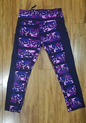 Nike Black Purple Camouflage Dri Fit Athletic Yoga Pants Women Size Small S