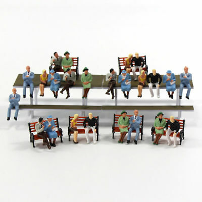 P4802 24 pcs All Seated Figures O scale 1:48 Painted People Model Railway NEW