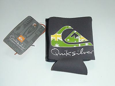 Quiksilver Stubby Holder Light Grey With Green Flag Cooler Koozie New