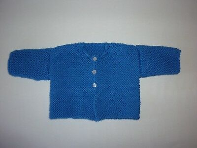 Blue hand knitted wool baby cardigan for newborn