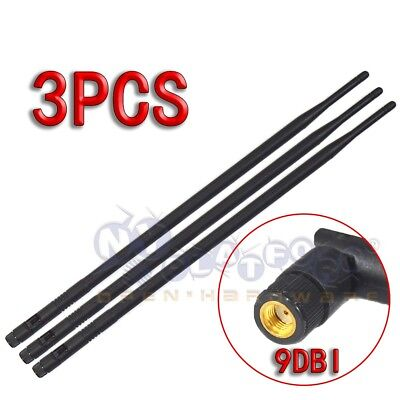 3 9dBi High Gain WiFi Antennas RP-SMA for Linksys Asus TP-Link D-Link Router