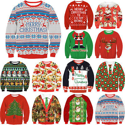 Unisex UGLY MERRY CHRISTMAS SWEATER Womens Mens Sweatshirt Pullover Jumper Tops