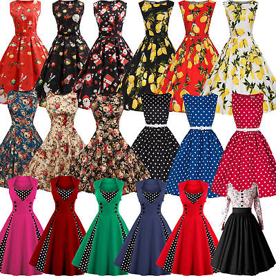 Womens 50's Rockabilly Swing Skater Dress Vintage Pin Up Christmas Xmas Party