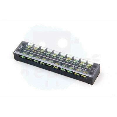 3 Pcs Terminal Block 10 Way Dual Row Position Poles Covered Barrier 600V 25A