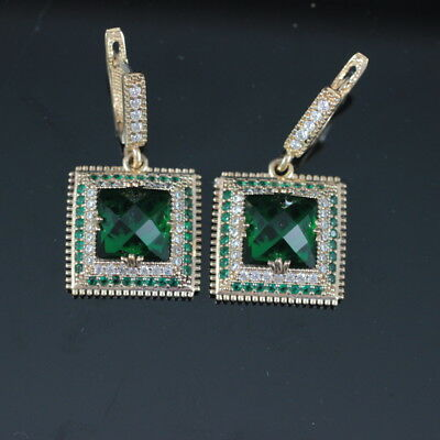 925 Sterling Silver Handmade Authentic Turkish Emerald Ladies Earring