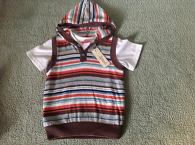 BNWT - SPROUT boys striped cotton vest & white tee (size 2) RRP $34.95 - 40% off