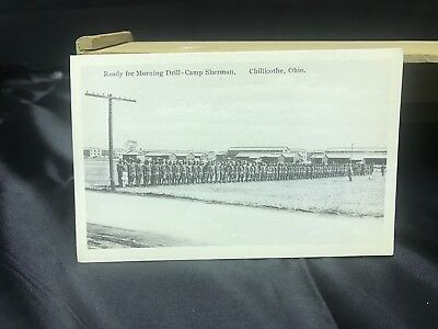 Vintage Chillicothe Ohio Camp Sherman postcard Ready For Morning Drill