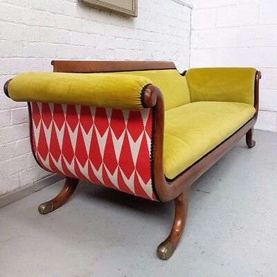c 18th Century Antique Biedermeier Chaise Longue / Sofa Scroll End upholstered