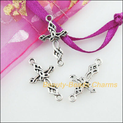 15 New Charms Flower Cross Tibetan Silver Tone Pendants Connectors 13x22.5mm