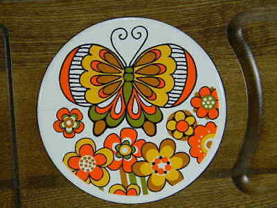 """Butterfly Trivet Serving Tray Ceramic and Wood 14 5/8"""" x 8 1/2"""""""