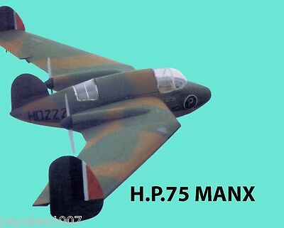 """Model Airplane Plans (RC): Handley Page H.P. 75 MANX 50"""" 9.5 to 1 Scale Electric"""