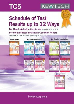 Kewtech TC5 Schedule of Test Results up to 12 Ways