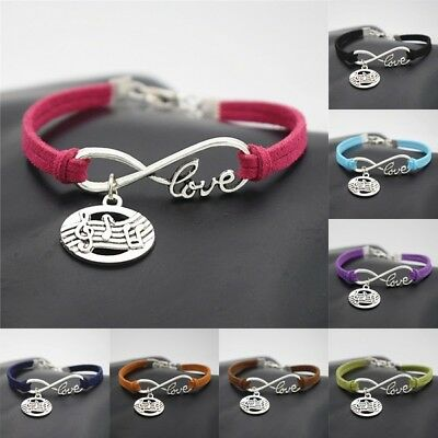 Antique Silver  Musical Note Charm Infinity Love Gifts Leather Bracelets