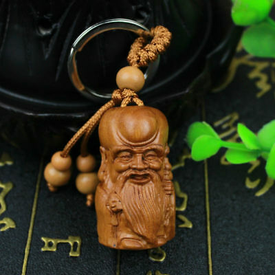God of Longevity Holy Statue Wood 3D Carving Chinese Sculpture Pendant Key Chain