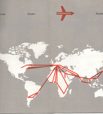Swissair Route Map and Fleet Data Booklet, March 1973, NEW