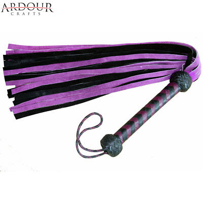 Genuine Cow Hide Suede Leather Flogger Purple & Black Leather whip 25 Tails