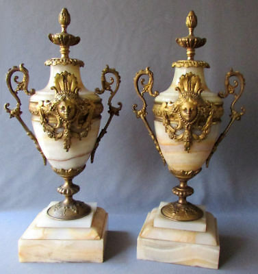 Pair ANTIQUE 19th Century BRONZE & ONYX French Style MANTEL GARNITURES 1890