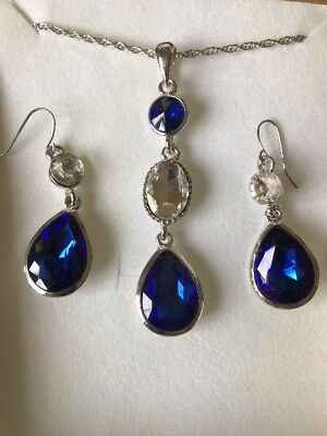 Royal Blue Clear Crystal Gold Necklace Earring Jewellery Set Accessories