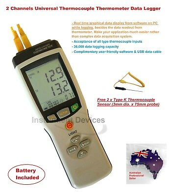Pro 2 Channels Thermocouple Thermometer Data Logger (Type K J E T R S N B)