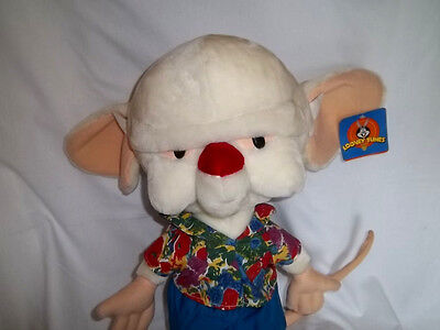 "1997 WARNER BROS Large 23"" Plush PINKY & The BRAIN w/ TAG Stuffed ANIMANIACS"