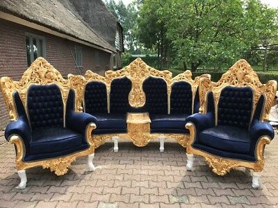 Antique Sofa/couch Settee + Two Chairs In Italian Rococo Style.