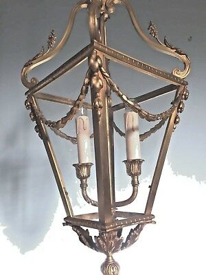 Antique French Lantern In Louis Xvi Style Made In Bronze