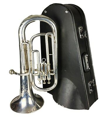-HSINGHAI- SILVER PLATED BARITONE HORN with MOUTHPIECE & FITTED CARRY CASE BOX