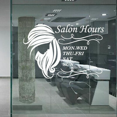 Wall Decal Hair Salon Beauty Hairstyle Signboard Hours of Operation Time M1222