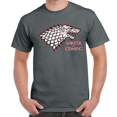 Mens Funny tshirts-Winter is Coming-House Starks sigil Game of thrones Inspired