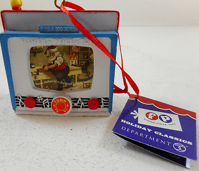 Dept 56 Fisher Price Peek A Boo Screen Ornament tag 2014