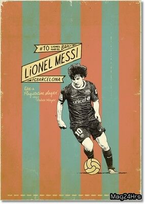 "Retro Lionel Messi Poster Soccer Football Photo Fridge Magnet Size 2""x 3"""