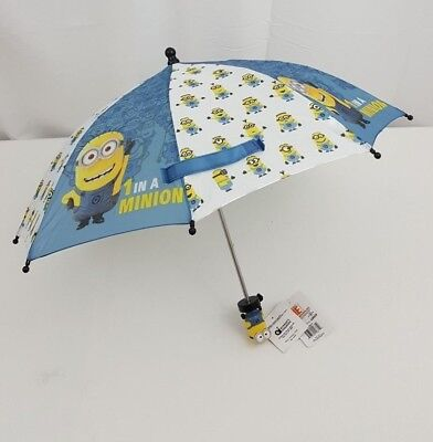 "Minions Umbrella Boys And Girls Length 21"" With Minion Handle Blue White yellow"