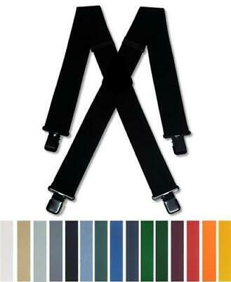 """Mens Braces Heavy Duty Assorted colours 2"""" 50mm or 1.5"""" 38mm Trouser Suspenders"""