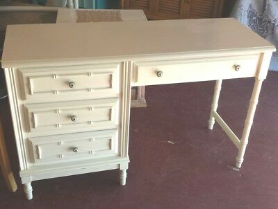 Vintage White Bamboo Style Vanity or Desk