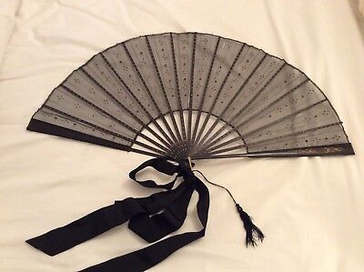 Large Antique Victorian lace mourning fan with sequins & gold carved detail