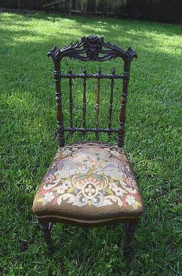 Antique Hand Carved Parlor Chair Embroidered Seat Black Forest Style Ships Free