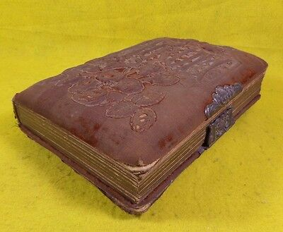 """Antique Velvet Photo Album  With Metal Clasp Cover And Old Pictures """"ships Free"""""""