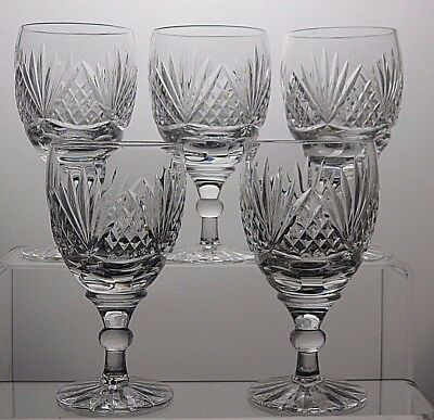 "Tutbury Crystal ""belmont"" Cut Full Lead Hand Cut Wine Glasses Set Of 5"