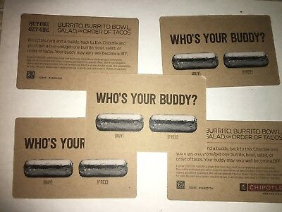 5 Chipotle BOGOs - Expires 1/31/18. Use anywhere in the US.