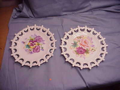 """Lefton China Pair Of Laced Edged Pansies And Rose Painted 8"""" Plates"""
