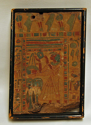 Ancient Original EGYPTIAN WOOD PANEL Hieroglyphic Fragment