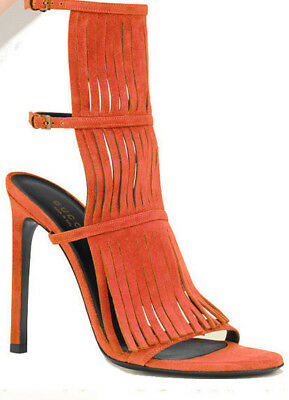 72207dcd5d0  650 GUCCI SHOES BECKY ORANGE SUEDE FRINGED HIGH HEEL SANDAL Size 7 ...