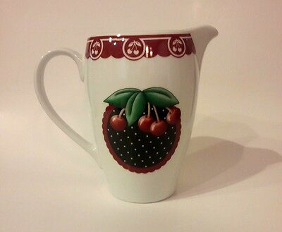Mary Engelbreit Water Juice Pitcher Cherries Cameo 2001 Cherry Enesco ME At Home