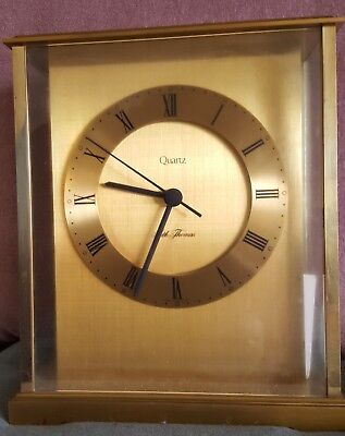 "Vintage Seth Thomas ""Dedication"" Brass GlassCarriage Clock No 162C Quartz"