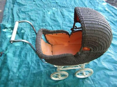 Antique Doll's Cane Pram Very Good Condition From 1920's