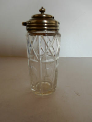 Cut Glass with Silver topped lid condiment jar,