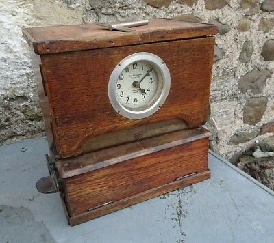 A Vintage Industrial Solid Wood Time Recorders of Leeds, Clocking In Clock